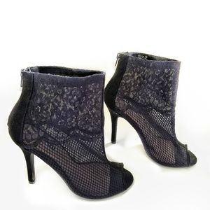 Chinese Laundry Peep Toe Zip Up Lace Heels Size 9